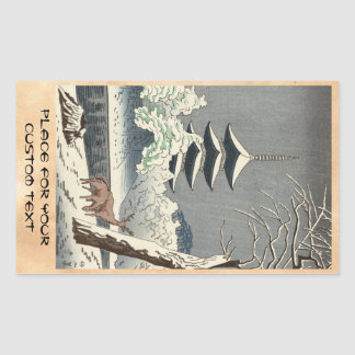 Arte de Shin Hanga de la charca de Asano Takeji Pegatina Rectangular