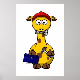 Arte de Toon de la jirafa de la manitas Poster