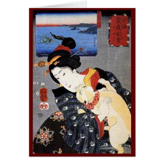 Arte de Ukiyo-e Woodblock - geisha y gato Tarjeta De Felicitación