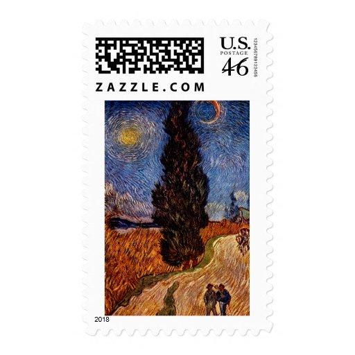 Arte de Van Gogh que pinta el cielo del árbol del