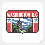 Arte de Washington D.C. State Label del viaje del Pegatina Cuadrada