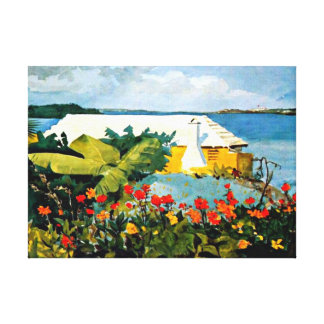 Arte de Winslow Homer: Jardín de flores y casa de  Lona Envuelta Para Galerias