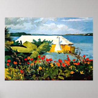 Arte de Winslow Homer: Jardín de flores y casa de  Póster