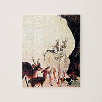 Arte de Woodblock del japonés de la cabra de los c Puzzle