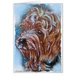 Arte de Yorkshire Terrier del invierno Felicitacion