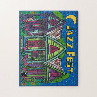 Arte Decco de la luna del fest del jazz Puzzle Con Fotos