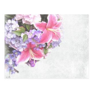 Arte decorativo de la flor rosada hermosa del tarjeta postal