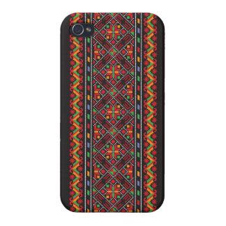 Arte decorativo de la puntada cruzada ucraniana iPhone 4 carcasa