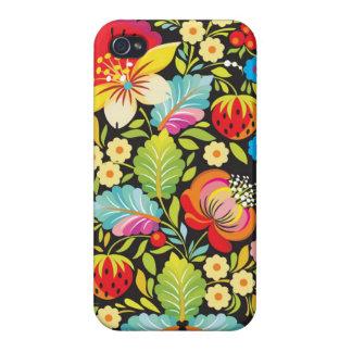 Arte decorativo de las flores étnicas iPhone 4/4S carcasas