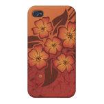Arte decorativo floral anaranjado oscuro iPhone 4 cárcasa