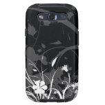 Arte decorativo floral negro galaxy s3 carcasa