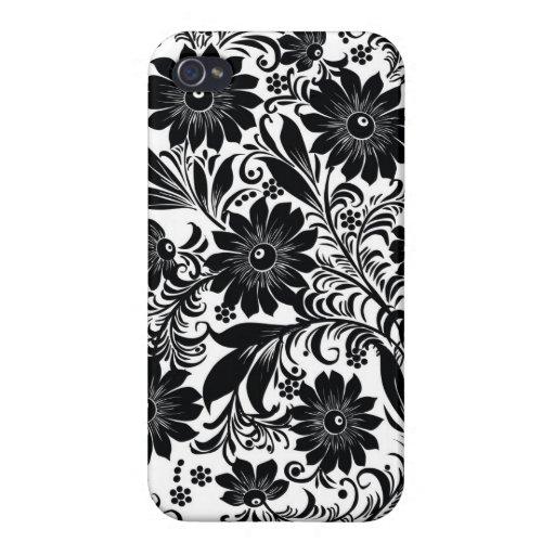 Arte decorativo floral negro iPhone 4/4S funda