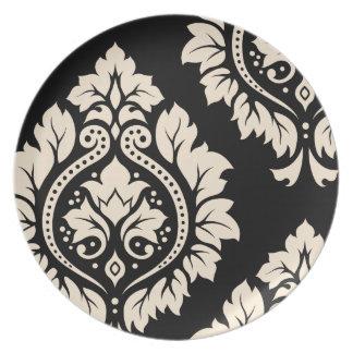Arte decorativo I del damasco - crema en negro Plato De Comida