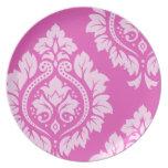 Arte decorativo I del damasco - luz en rosa oscuro Platos Para Fiestas