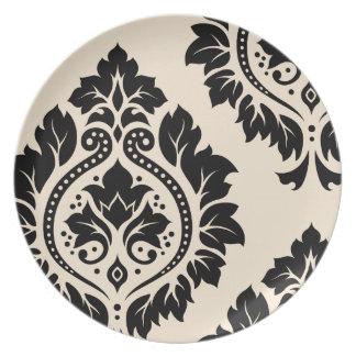 Arte decorativo I del damasco - negro en la crema Plato