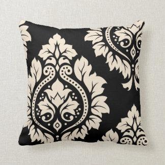 Arte decorativo I del damasco - negro y crema Cojín