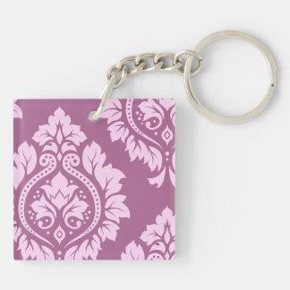 Arte decorativo I del damasco - rosa y ciruelo (bi Llavero Cuadrado Acrílico A Doble Cara