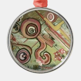 Arte del acrílico de la paja del movimiento del adorno redondo plateado