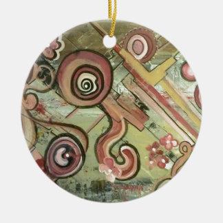 Arte del acrílico de la paja del movimiento del adorno redondo de cerámica