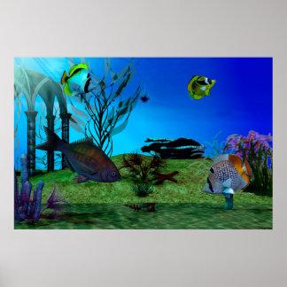 Arte del acuario 3D Digitaces Póster