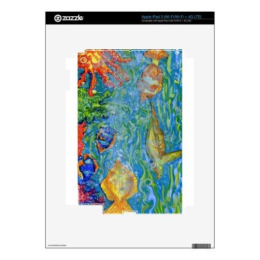 Arte del acuario de la fantasía pegatinas skins para iPad 3