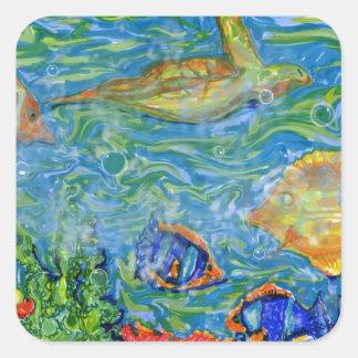 Arte del acuario de la fantasía pegatinas cuadradases personalizadas