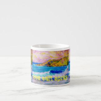 arte del aerosol de sal del mar taza de espresso