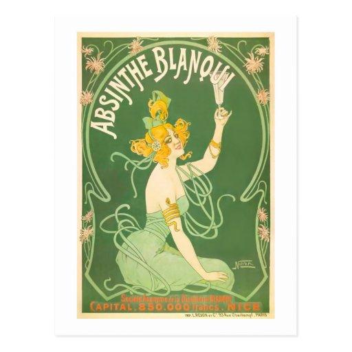 Arte del ajenjo del vintage de Blanqui del ajenjo Postal