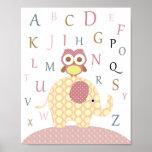 Arte del alfabeto del búho del cuarto de niños impresiones