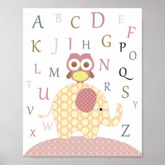 Arte del alfabeto del búho del cuarto de niños póster