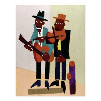 Arte del americano del vintage del ~ de los músico postal
