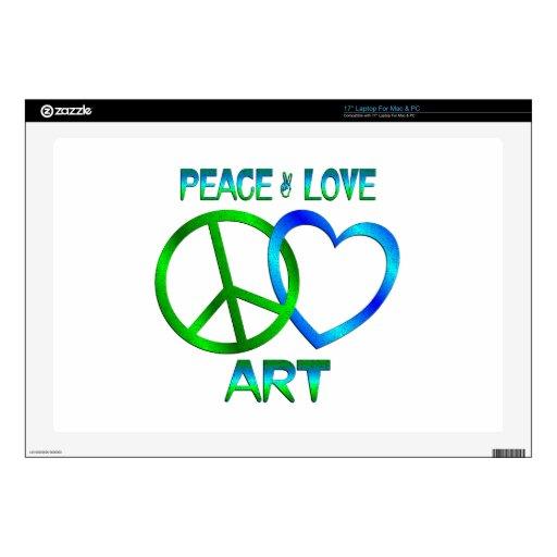 ARTE del amor de la paz Skins Para 43,2cm Portátiles
