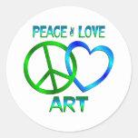 ARTE del amor de la paz Pegatina Redonda