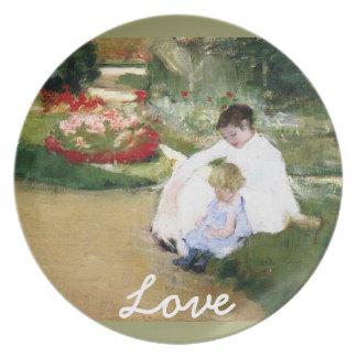 Arte del amor de la placa de Mary Cassatt Plato