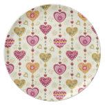 arte del amor del modelo de los corazones plato de cena