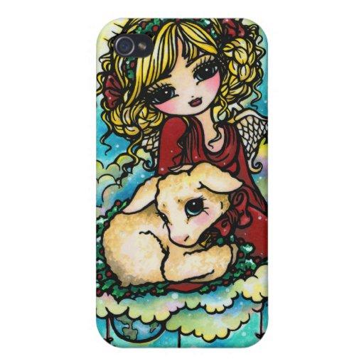 Arte del ángel del milagro del navidad de Hannah L iPhone 4 Cobertura