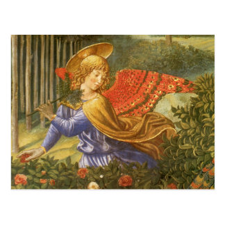 Arte del ángel del renacimiento, procesión de unos postal