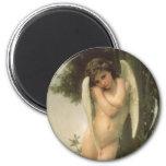Arte del ángel del Victorian del vintage, Cupid Imán Redondo 5 Cm