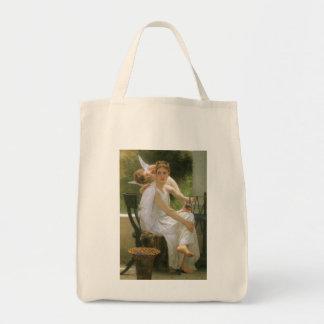 Arte del ángel del vintage, trabajo interrumpido bolsa tela para la compra