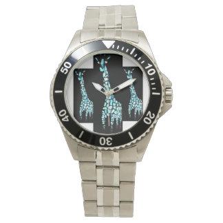 Arte del animal de la jirafa reloj de mano