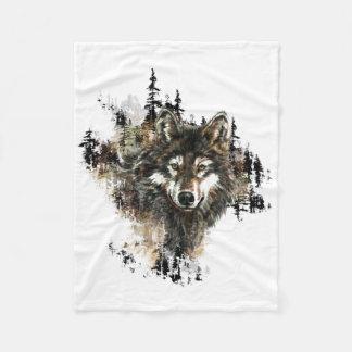 Arte del animal de la montaña del lobo de la manta de forro polar