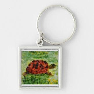 Arte del animal de la tortuga llavero cuadrado plateado