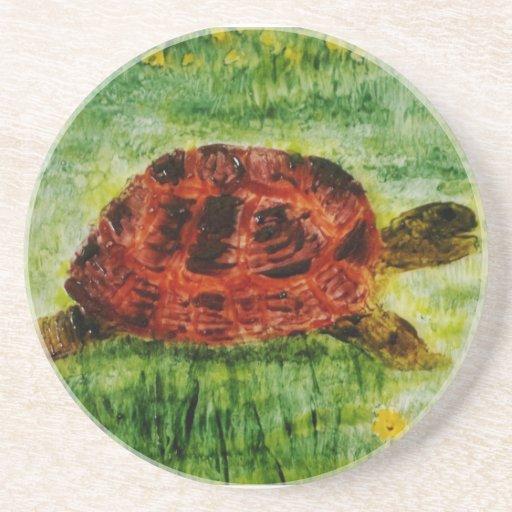 Arte del animal de la tortuga posavasos personalizados