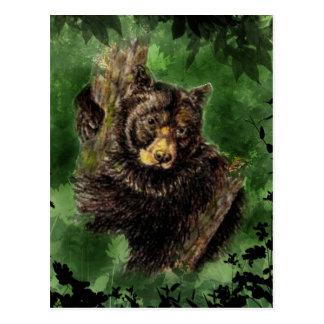 Arte del animal de los abrazos de oso negro de la tarjeta postal