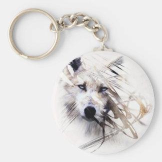 Arte del animal de los lobos de White Wolf Llavero Redondo Tipo Pin