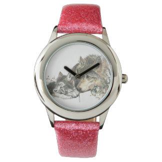 Arte del animal del lobo de la madre y de la relojes de pulsera