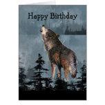 Arte del animal del lobo del grito del feliz cumpl tarjetas