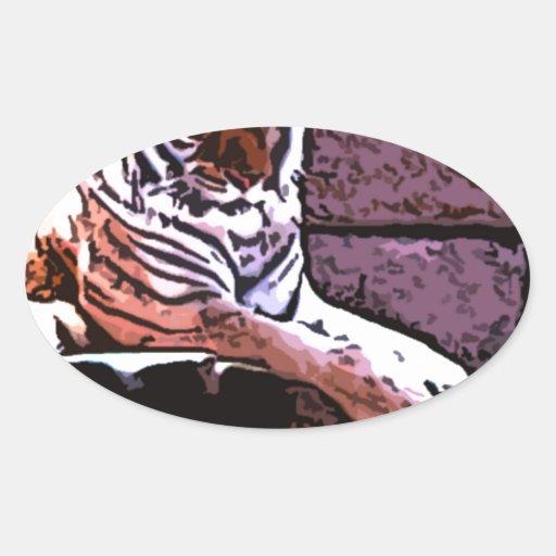 arte del animal del tigre pegatina ovalada