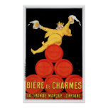 Arte del anuncio de la bebida de Biere De Charmes Póster