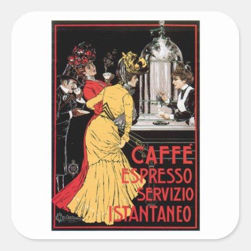 Arte del anuncio de la bebida del café del vintage calcomanía cuadrada